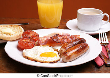 Cooked breakfast - Freshly cooked breakfast with sausages ...