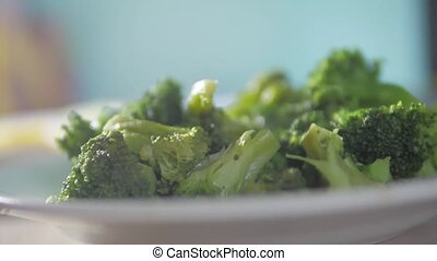 cooked broccoli tasty healthy food vegetarianism goes the...