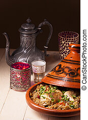 cooked chicken in a tajine