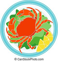 Cooked crab, green salad and lemon on a plate - Icon Of Crab...