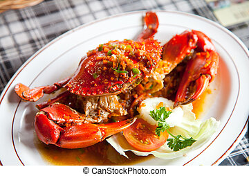 crabs with spicy sauce - cooked crabs with spicy sauce on...