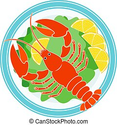 Cooked crayfish, green salad and lemon on a plate - Icon Of ...