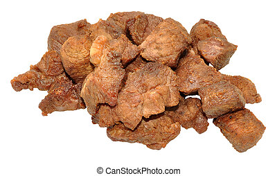 Cooked Diced Beef - Cooked diced beef meat cubes isolated on...