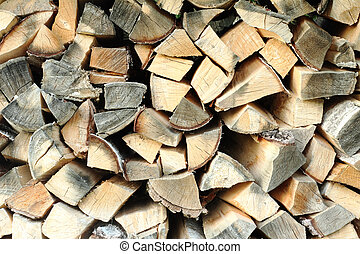 Cooked dry firewood for the fireplace.