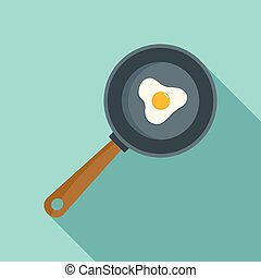 Cooked egg icon, flat style