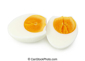 Cooked egg isolated on white background