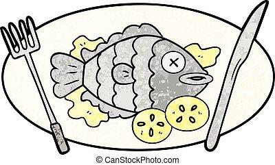 cooked fish cartoon