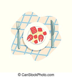 Cooked fish on a plate vector Illustration on a white background