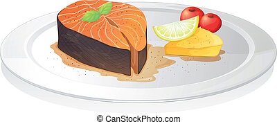 cooked fish slice with lemon, cheese and berries