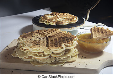 Cooked heart shaped waffles