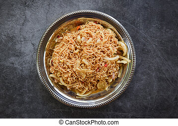 Cooked instant noodles on plate - Noodle spicy salad thai food