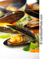 cooked mussels and vegetables with wine sauce