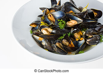 mussel - cooked open blue mussels on white background