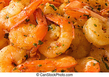 Shrimps cooked with seasoning. Background