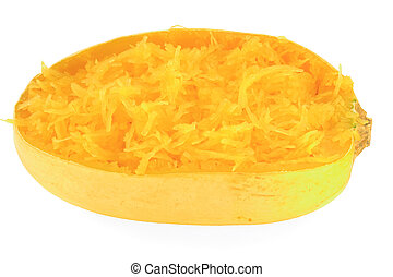 Cooked Spaghetti Squash - Backed and scooped into the skin...