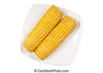 Cooked sweet cob corn on dish isolated