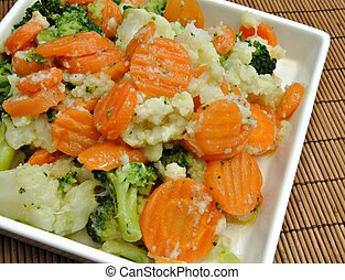 Cooked vegetable salad made %u200B%u200Bof carrots, broccoli...