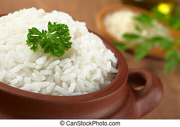 Cooked white rice garnished with parsley in a rustic bowl (Selective Focus, Focus on the parsley and the rice around)