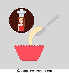 cooker girl spoon flour bowl