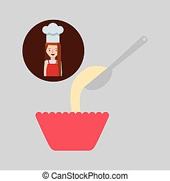 cooker girl spoon flour bowl