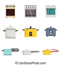 Cooker oven stove pan burner icons set flat style