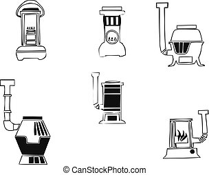 Cooker oven stove pan burner icons set. Simple illustration of 6 cooker oven stove pan burner vector icons for web