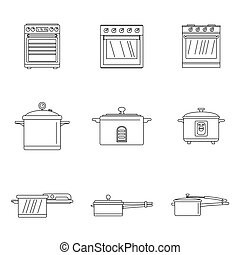 Cooker oven stove pan icons set outline style