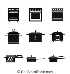 Cooker oven stove pan icons set simple style