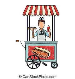 Cooker with hot dog stand scribble