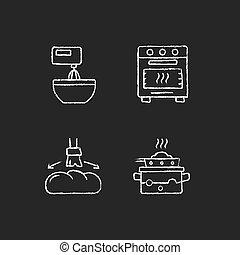 Cookery chalk white icons set on dark background