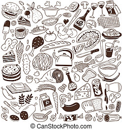 Cookery, food doodles
