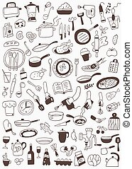 cookery , food - doodles set - cookery , food - vector icons...