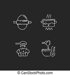 Cookery instructions chalk white icons set on dark background