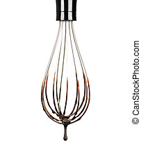 Cookery wire whisk with splashing chocolate isolated on...