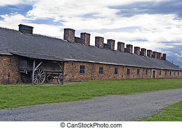 Cookhouse and cart in Auschwitz - Birkenau concentration...