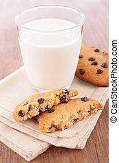 cookie and milk glass