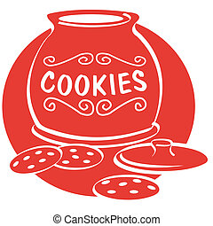 Cookie and cookie jar clip art in retro or vintage 1950s or fifties style.