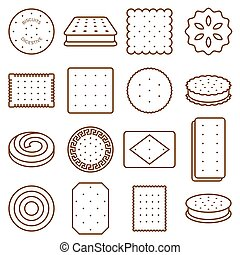 cookie, cracker and biscuit outline icon set