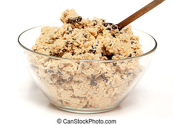 Cookie Dough Bowl - A bowl of raw chocolate chip cookie...
