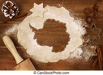 Cookie dough cut as the shape of Antarctica (series)