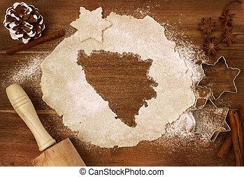 Cookie dough cut as the shape of Bosnia and Herzegovina...