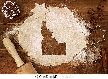 Cookie dough cut as the shape of Idaho (series) - Festive...
