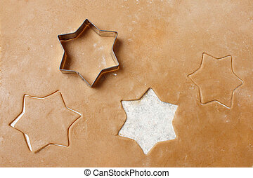 Cookie dough with christmas stars