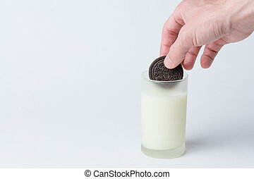Cookie Dunked in Milk