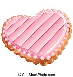 Vector illustration. A beautiful heart-shaped cookies.