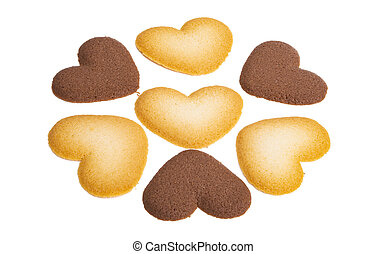 Cookie hearts isolated on white background