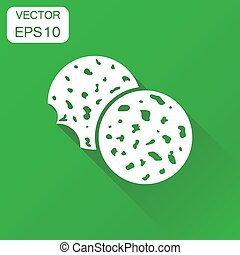 Cookie icon. Business concept chip biscuit symbol pictogram. Vector illustration on green background with long shadow.