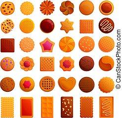 Cookie icons set, cartoon style