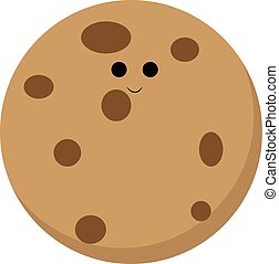 Cookie, illustration, vector on white background.
