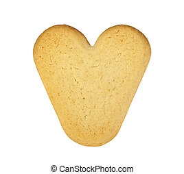 Cookie in the shape of a heart on a white background